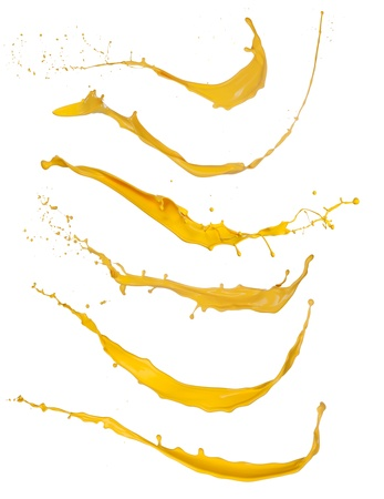Shot of yellow paint splashes, isolated on white background Stock Photo - 16413517