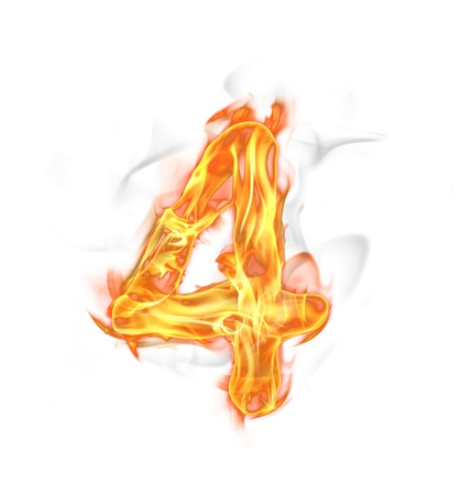 symbol flammable: Fire number isolated on white background