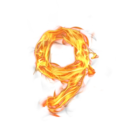 Fire number isolated on white background  photo