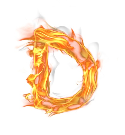 fire symbol: Fire letter isolated on white background