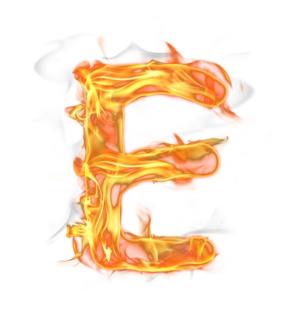 Fire letter isolated on white background  photo