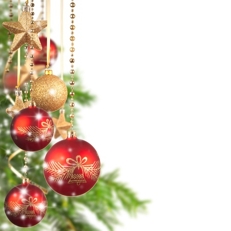 christmas decorations with white background:  Christmas theme with glass balls and free space for text