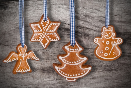 Traditional gingerbread on wooden background photo