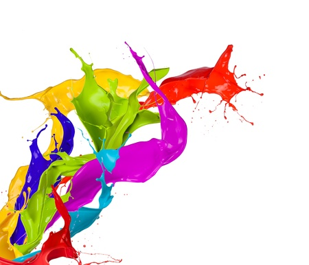 paint drop:  Colored paint splashes isolated on white background