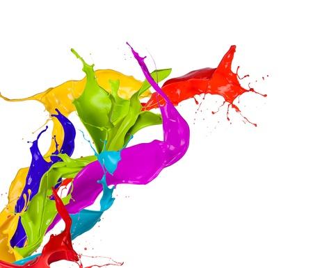 Gekleurde verf spatten geïsoleerd op witte achtergrond Stockfoto