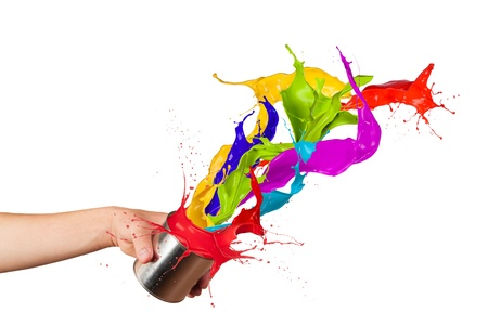 mixing:  Colored paint splashes splashing out of can isolated on white background