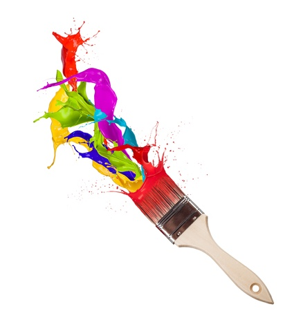 rainbow colours:  Colored paint splashes splashing from paintbrush on white background  Stock Photo