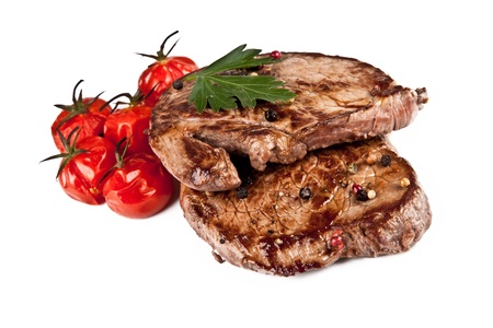 charbroiled: Delicious beef steaks isolated on white background