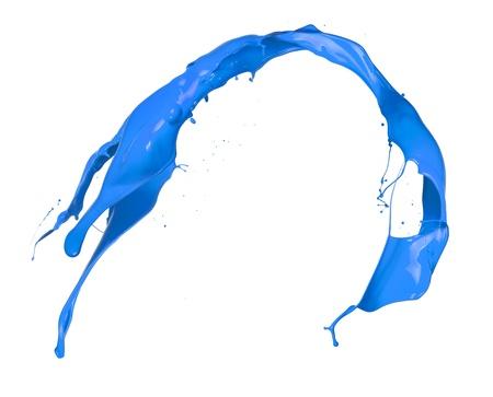 paintbrush spray: Blue splash on white background