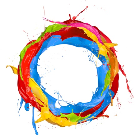 ink stain:  Colored paints splashes circle, isolated on white background