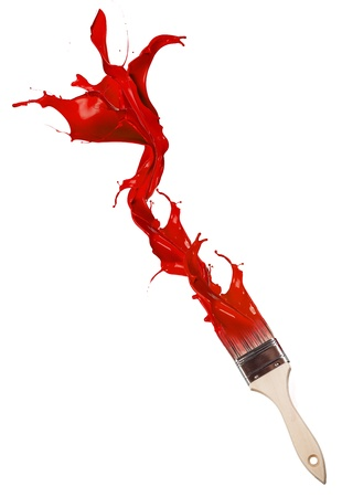 three dimensional shape:  Red paint splashing out of brush  Isolated on white background