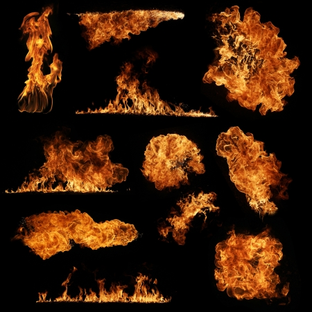 explodindo: Cole��o de alta resolu��o fogo isolado no fundo preto Banco de Imagens