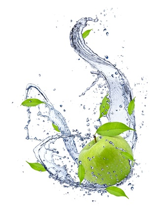 Green apple in water splash, isolated on white background photo