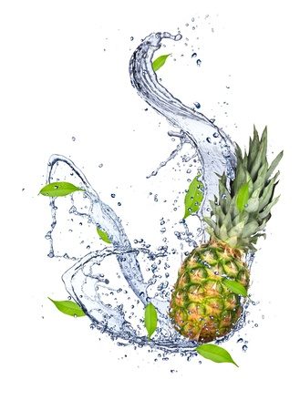 Pine-apple in water splash, isolated on white background