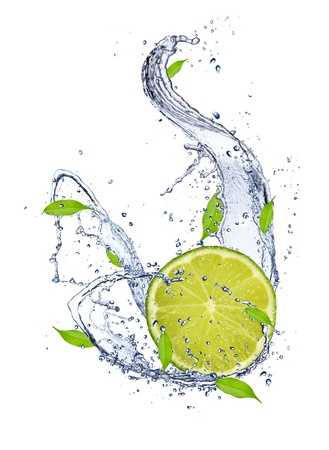 limelight: Lime in water splash, isolated on white background Stock Photo
