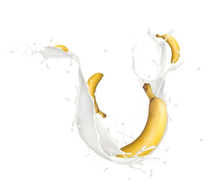 Bananas in milk splash, isolated on white background photo