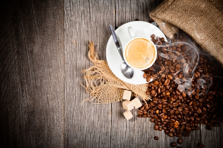 Coffee still life on wooden surface, upper view Stock Photo - 16897428