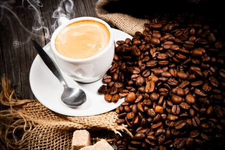Coffee still life on wooden surface Stock Photo - 16897429