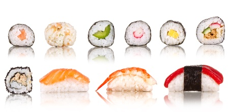 sake maki:  Sushi pieces collection, isolated on white background