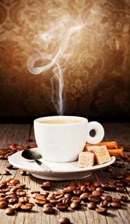 Coffee still life in grunge design  photo