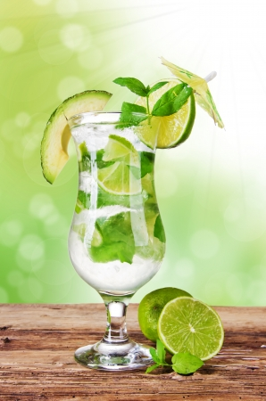 Fresh mojito drink with blur green background photo