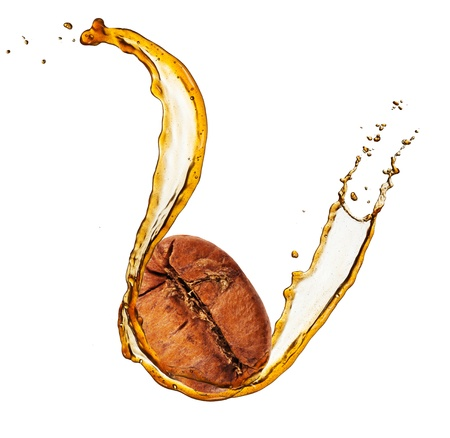 Coffee bean in splash, isolated on white background photo