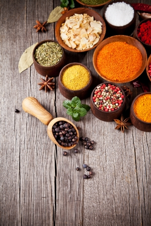 Various kind of spices in wooden bowls Stock Photo - 17182195
