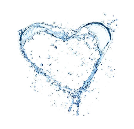 clean heart:  Heart symbol made of water splashes, isolated on white backgRound  Stock Photo