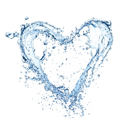 falling water:  Heart symbol made of water splashes, isolated on white backgRound  Stock Photo