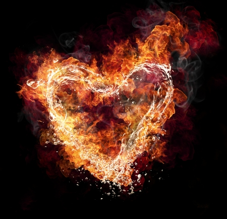 burns: Water and fire heart shape on black background