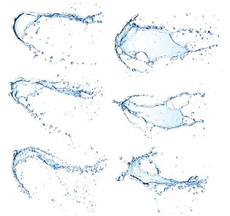 agua: Agua de alta resoluci�n salpicaduras colecci�n aislada en el fondo blanco