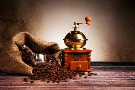 grinder: Coffee still life with wooden grinder