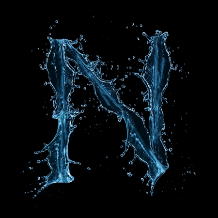 bubble letters:  Water splashes letter