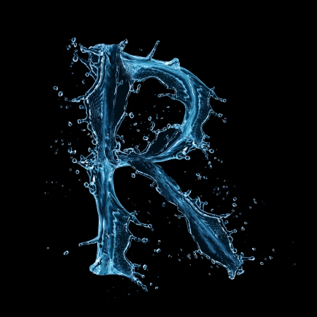 bubble letters:  Water splashes letter