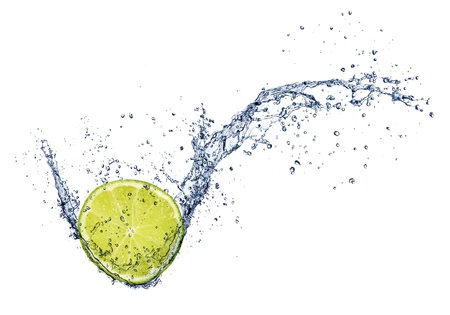 limelight:  Fresh lime in water splash, isolated on white background