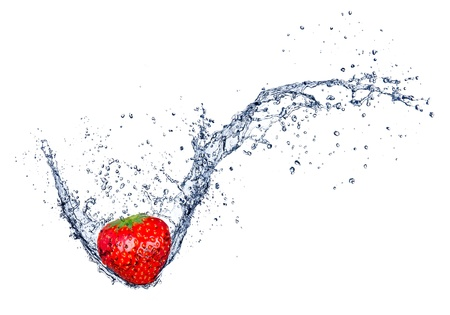 falling water:  Fresh strawberry in water splash, isolated on white background