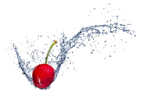 red water:  Cherry in water splash, isolated on white background