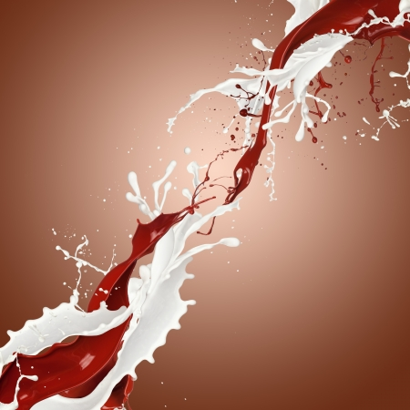 Chocolate and milk splashes in abstract shape photo
