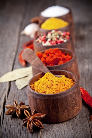 curry powder:  Various kind of spices in wooden bowls
