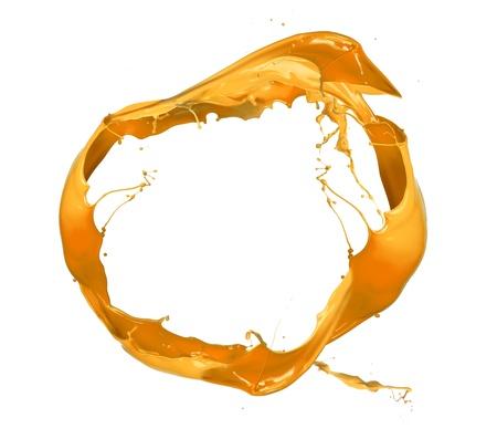 ink drops: Yellow paint splashes circle, isolated on white background Stock Photo