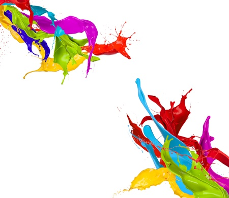 Colored paint splashes isolated on white background Imagens - 17591700