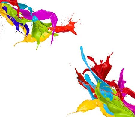 Salpicaduras de pintura de colores aislados sobre fondo blanco Foto de archivo