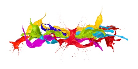 Gekleurde verf spatten geïsoleerd op witte achtergrond