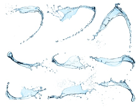 blue bubbles:  High resolution water splashes collection isolated on white background