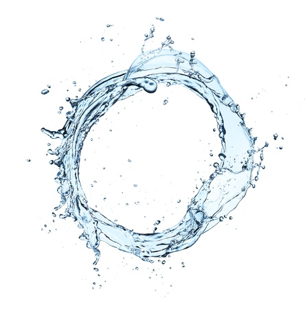 circular water ripple: Water splash isolated on white background