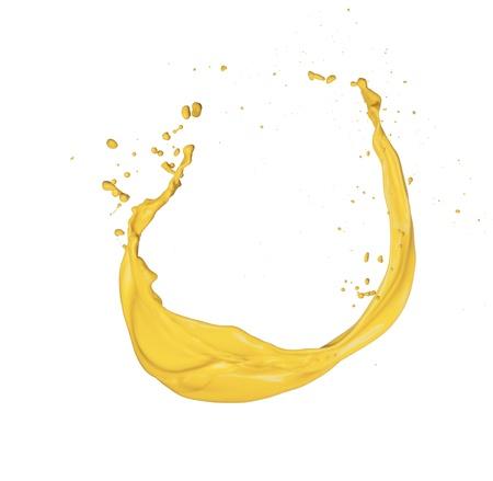 paintbrush spray: Isolated shot of yellow paint splash on white background
