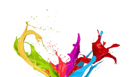dripping paint:  Colored paint splashes isolated on white background