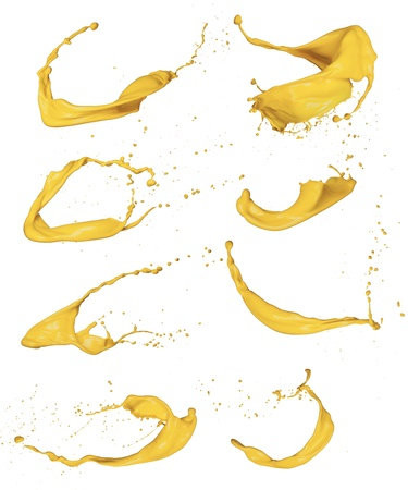 dripping paint: Shot of yellow paint splashes, isolated on white background
