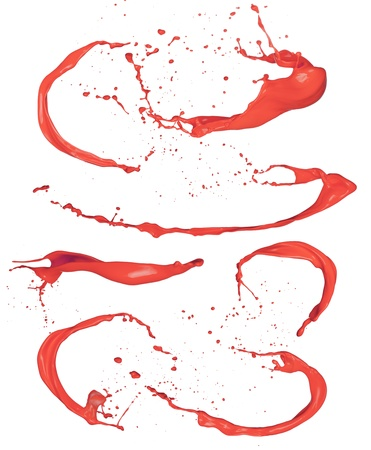 Shot of red paint splashes, isolated on white background Stock Photo - 17591735