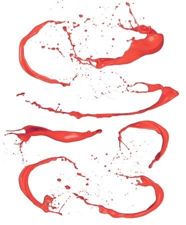 Shot of red paint splashes, isolated on white background Stock Photo - 17591735